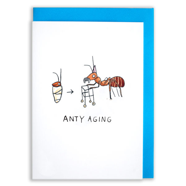 A card with a blue envelope tucked inside. A baby ant wrapped in a blanket with a little smile, an arrow points from the baby ant to a very old ant with a moustache and a zimmerframe. He is wearing a purple party hat. Text below reads 'Anty Aging'.