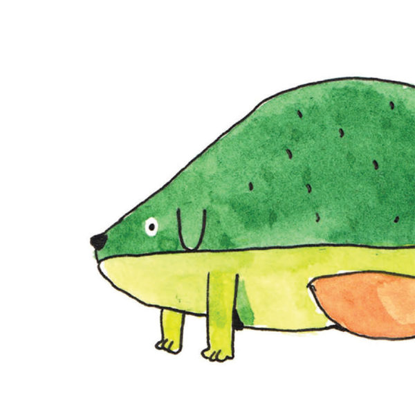 Preview of full image. An avocado, but as a dog. The tip of the avocado is his nose. The middle of the avocado has the pit as his tummy and he has green arms and paws.