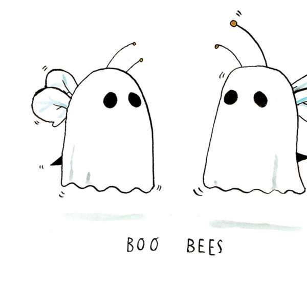 Close up of full image. Two bees who have put on sheets to present to be ghosts, you can see their tails, wings and antennae. The text 'Boo Bees' is written below.