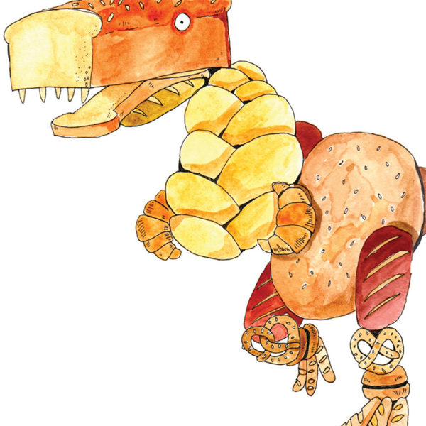 Close up of full image. A dinosaur, made of bread. Croissants for arms, pretzels for knees, baguettes for feet, a large tin loaf for a head, a large seeded loaf for a body.