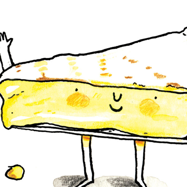 Close up of full image. A brie with a little smiley face, waving at you.