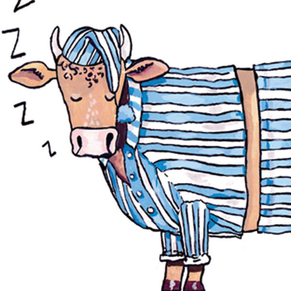 Close up of full image. Half a bull, wearing blue and white striped pyjamas and a nightcap, snoring with his eyes closed.