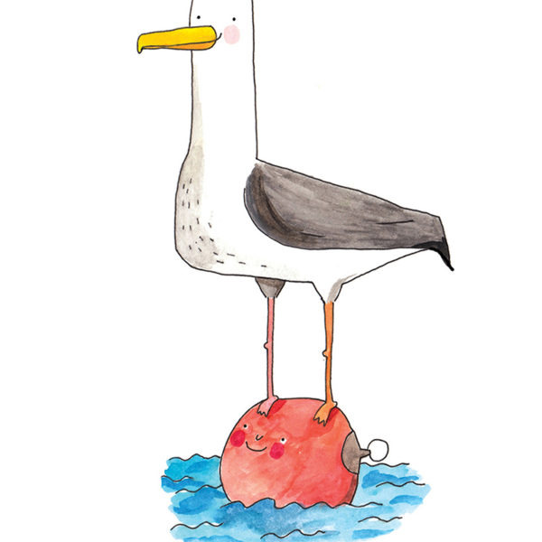 Close up of full image. Seagull perched ontop of a buoy. The bouy and gull have smiling faces. The buoy is re and is bobbing of a blue sea.