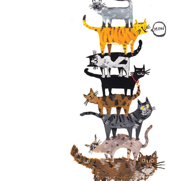 Close up of full image. A pillar made of cats, small ones at the top and big at the bottom, all different colours and some fluffy, some sleek. One cat is saying 'mow'.