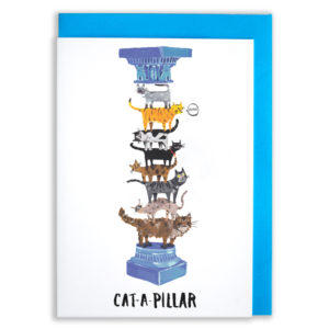 A card with a blue envelope tucked inside. A pillar with a blue ornate decoration and the top and bottom. The middle of the column is made of various cats of all shapes and colours, one ginger cat is saying 'mow'.. The text reads 'Cat-a-pillar'.
