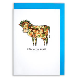 A card with a blue envelope tucked inside. A cow that is camouflage coloured, also has leaves in its hair. Text reads 'Cow Moo Flage'.