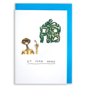 A card with a blue envelope tucked inside. Top right of image is a group of ferns shaped like a house. Botton left image is E.T. Below this it says E.T Fern Home.