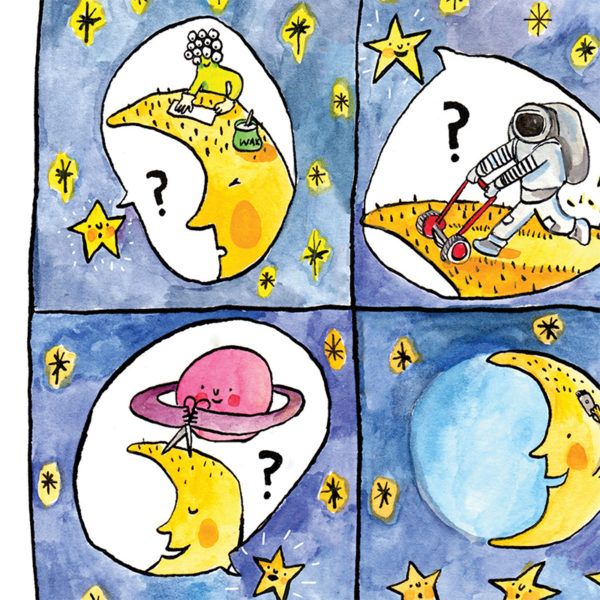 Close up of the moon in a four part comic. Top left: An alien with lots of eyes is waxing the moons hair. Top right: A space man is mowing his hair. Bottom right: A purple ringed planet is cutting his hair with scissors. Bottom left: The moon his shaving his head with a razor clipper.