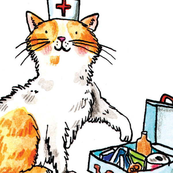 Close up of full image. A ginger and white kitten with a white nurses hat with a red cross on is holding a paw out to a blue first aid kit filled with plasters and medicine.