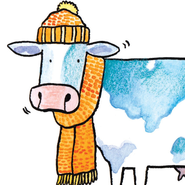 Close up of full image. The head and shoulders of a cow. The cow is white with blue plodges and is wearing an orange bobble hat and woollen scarf.