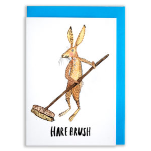 A card with a blue envelope tucked inside. A hare with long ears and whiskers, and a little smile, is holding a very long brush and is sweeping the floor. The text reads 'Hare Brush'.