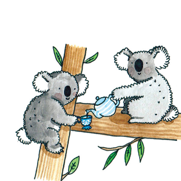 Two koalas in a tree having a cup of tea. One koala has a blue and white striped teapot and is pouring some tea into the other koalas blue and white dotty cup. Both are smily and fluffy and are having fun.