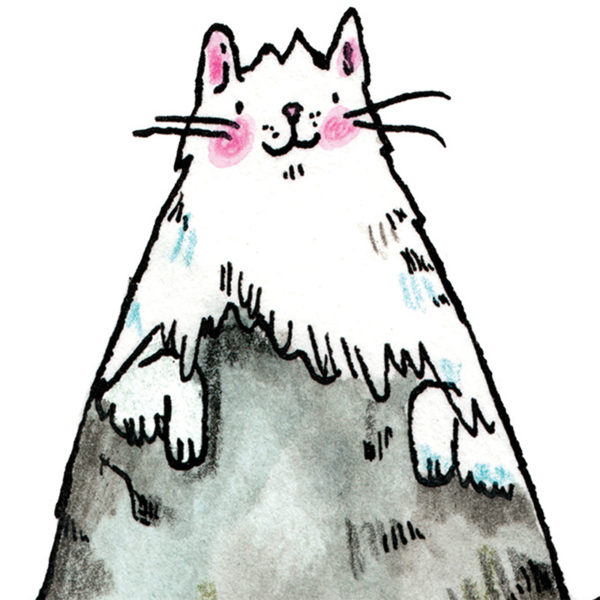 A mountain peak - except the show is a cat! A grey and white cat who is a mountain. The cat has pink rosy cheeks an a little smile.