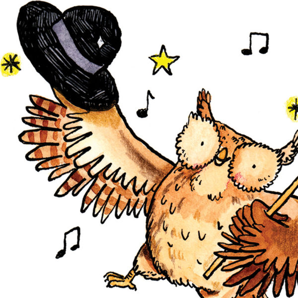 An owl with a hat in one wing standing on one foot and dancing. The owl is surrounded by stars and music notes.