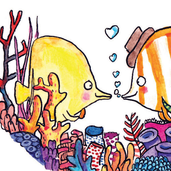 A close up of the full image. Two fish, one yellow and one white and orange striped with a brown hat. They are nestled into some coral and are blowing heart shaped bubbles.