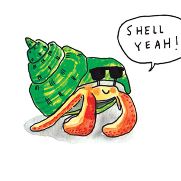 Close up of full image. An orange crab with a green shell, the crab is wearing some cool sunglasses and is saying 'shell yeah!'.