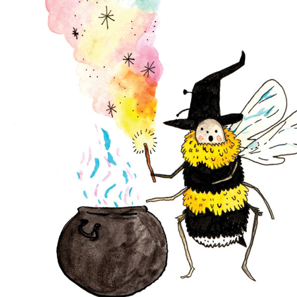 Close up of image. A fluffy bee with a witches hat on, she is pointing towards a cauldron and holding a glowing wooden magic wand. The bee is pointing at a glowing cauldron and colours and sparkles are coming out of the want and the cauldron. The bee has a surprised and awed look on her face!