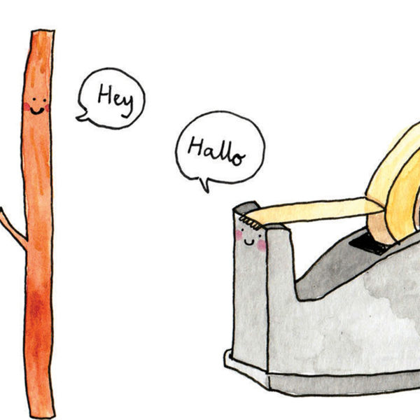 Close up of full image, a stick with a little smile is saying 'hey' to a sellotape holder, who sis also smiling and saying 'hallo'.