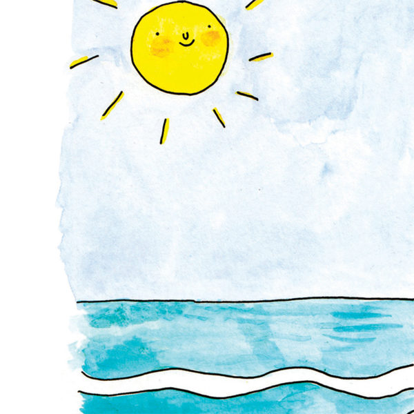 Close up of image, a smiling sun on a pale blue sky above some calm waves.
