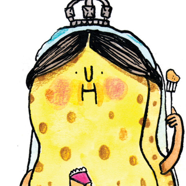 Close up of full image. A sponge, dressed as Queen Victoria with a crown, holding a fork in one hand a, in the other, a little pink slice of Victoria sponge cake!