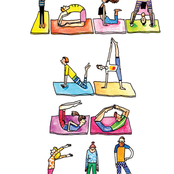 Close up of full image. Yogi's doing various positions on colourful mats, all wearing colourful clothes. They are all doing poses that spell out 'yoga na go far'