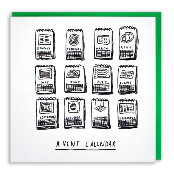 A display of twelve calender pages, they all have different types of vent on them. Text 'A vent Calendar'.