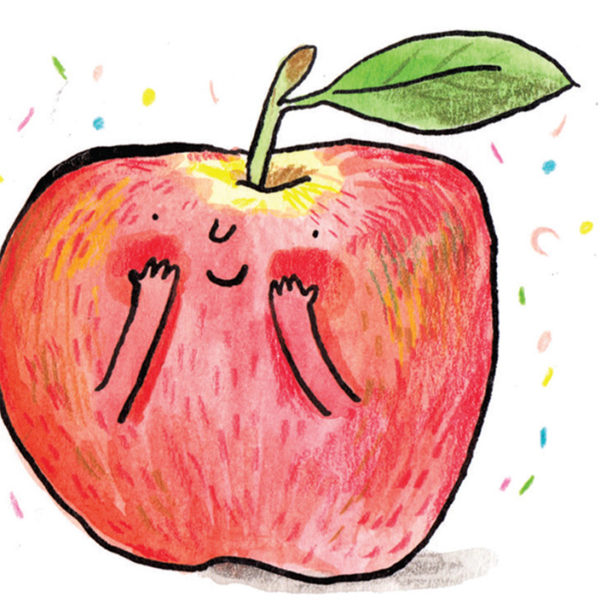 A red apple with a tiny smile and arms surrounded by confetti