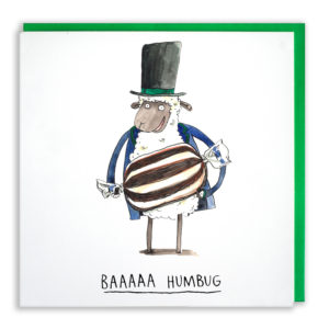 A sheep wearing a black top hat and blue coat. He is holding a giant humbug sweet. Text: 'Baaaaa Humbug'.