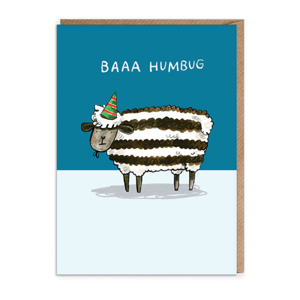 Top half of card is navy blue, bottom half is pale blue. A stripy black and white sheet with a green and red party hat. Text reads 'Baaa Humbug'.