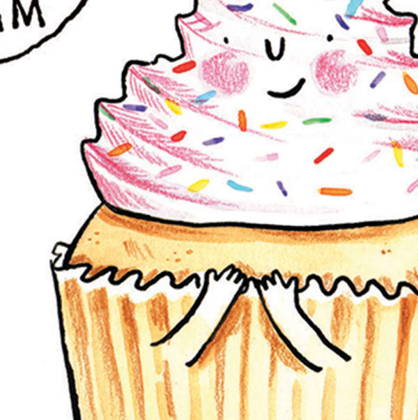 A close up of an iced cupcake with pink frosting and multi coloured sprinkles. It has a small smiling face in the frosting and small arms at the front of its cup cake case.