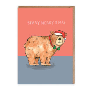 Top half of card is light red, bottom half is grey. A brown bear is wearing a green bow tie and Santa hat. Text reads 'Beary Merry Xmas'.