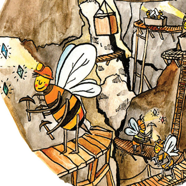 A close up of a diamond mine where all the workers are bumble bees wearing tiny hard hats and carrying picks