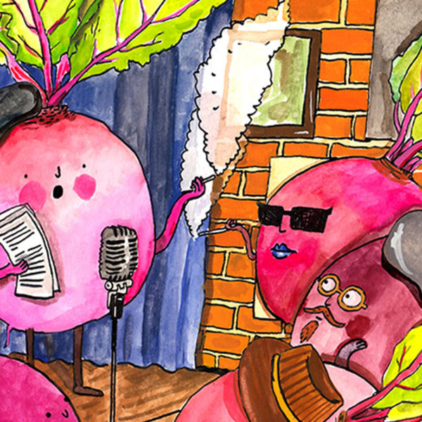 A beetroot reading poetry to other beetroots in a literary salon. Some have berets and sunglasses.