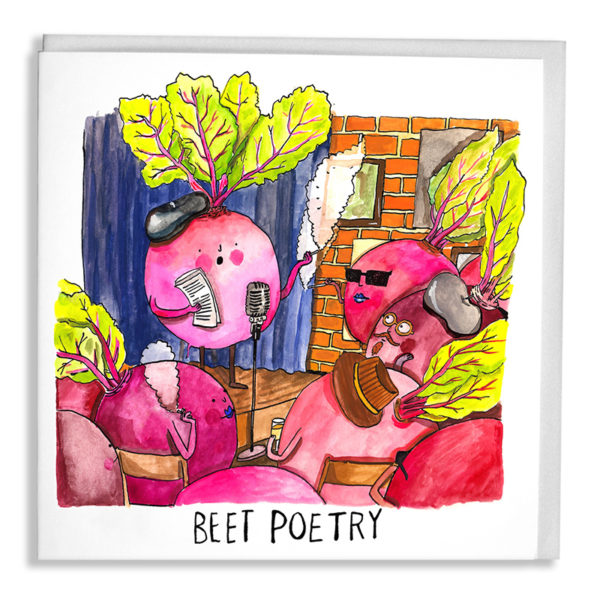A beetroot reading at a beat poetry session to other beetroots wearing berets and smoking. Text below reads 'Beet Poetry'.