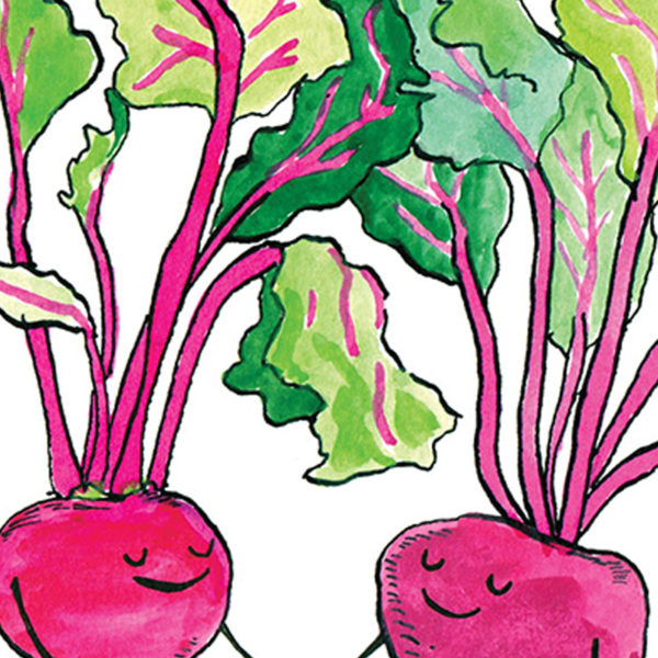 close up of two beetroots with brightly coloured green leaves holding hands.