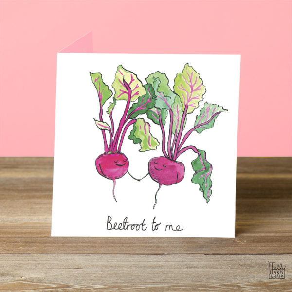 Two pinky red beetroots are holding hands and smiling with eyes closed. Text reads 'Beetroot to me'.