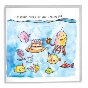 A card with a grey envelope tucked inside. In the sea are lots of different, brightly coloured fish, a sole has a birthday cake and an octopus holds a present. Text above reads 'Birthday fishes on your special day!'.