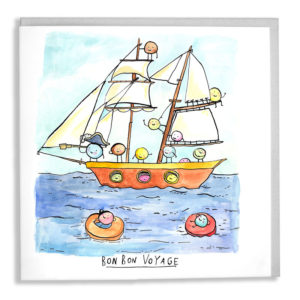 A card with a great envelope tucked inside. A large ship on the seas, captained by a blue bon bon with a crew of different coloured bon bons all hanging from the rigging. Two are bobbing in life rings. Text below reads 'Bon bon voyage'.