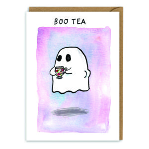 Card with brown envelope. A pink/purple watercolour background. A ghost holding a teacup and showing its bottom! Text above reads 'Boo tea'.