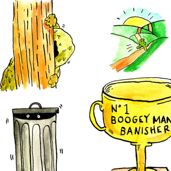 One bogey man is hiding in a bin. The other hiding behind a tree. Another depiction of the bogey man running away. At the centre of these is a gold trophy engraved with the tex 'No. 1 Boogey man banisher'