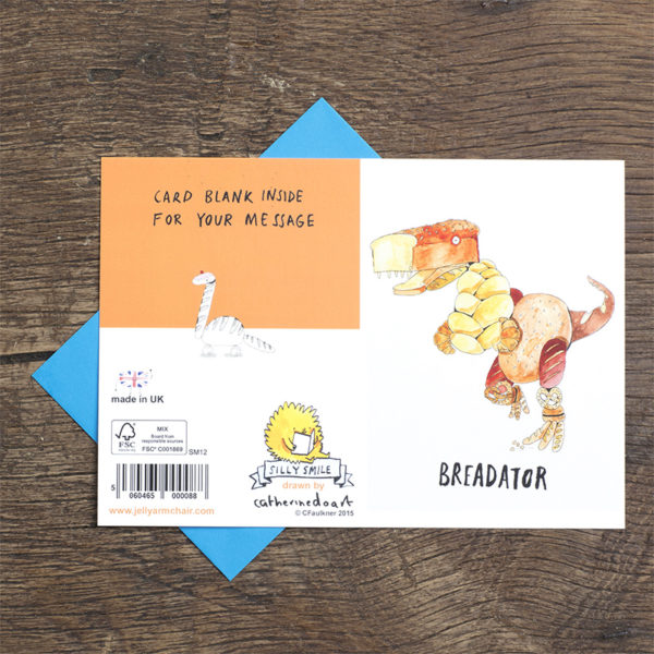 A dinosaur made out of bread. text reads 'Breadator'. On the back of the card is another bread dinosaur.