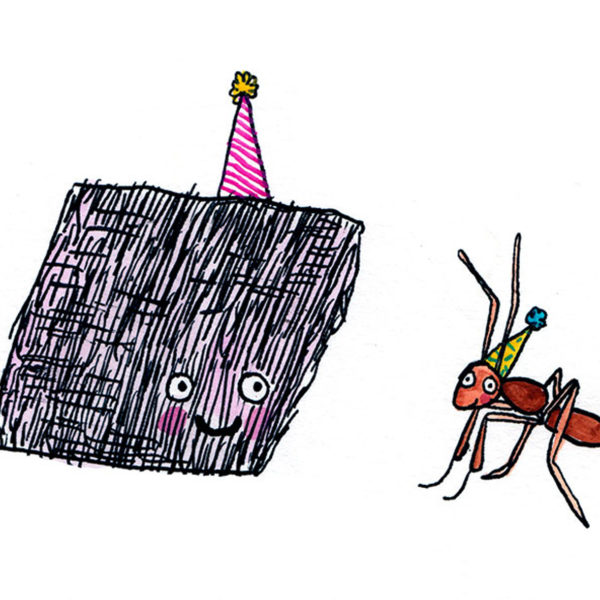 A brillo pad with a purple party hat is smiling at an ant wearing a yellow hat.