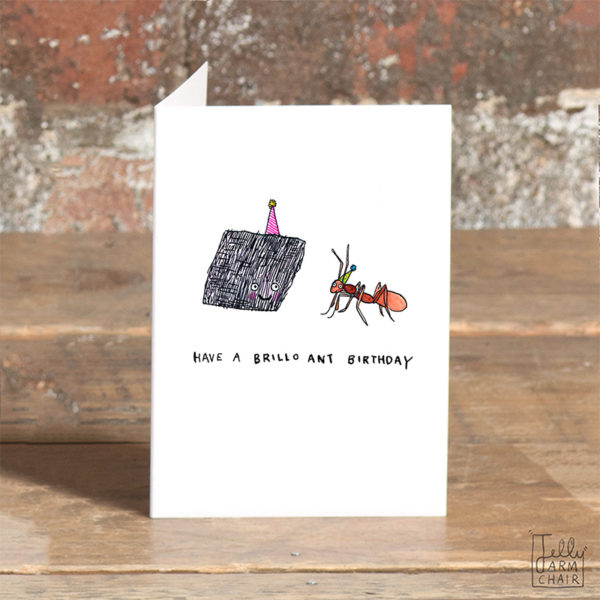 A brillo pad with a purple party hat is smiling at an ant wearing a yellow hat. Below reads 'Have a brillo ant birthday'.