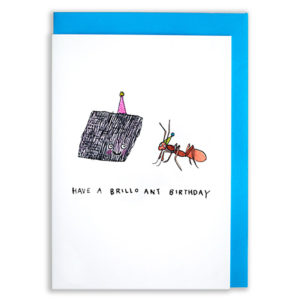 A card with a blue envelope tucked inside. A Brillo pad and an Ant are both wearing party hats and smiling at each other.