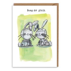 Card with brown envelope. Green watercolour background. Two robot, metallic rabbits smiling. Text above reads 'Buns of steel'.