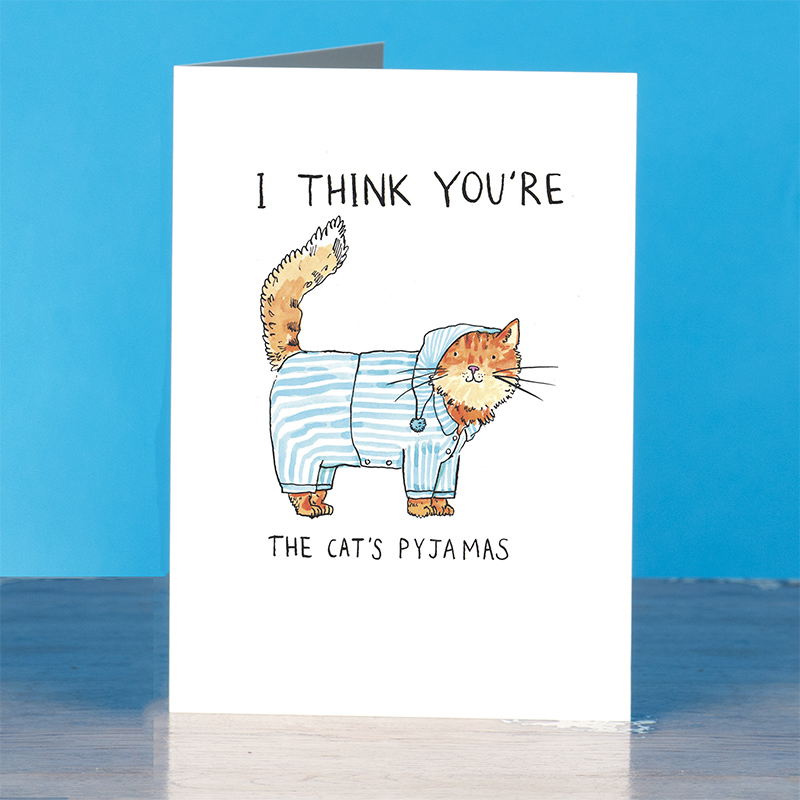 Cats-Pjs_Cute-cat-greetings-card-with-cats-pyjamas-pun.-Cards-for-cat-owners-and-cat-lovers_IT03_OT