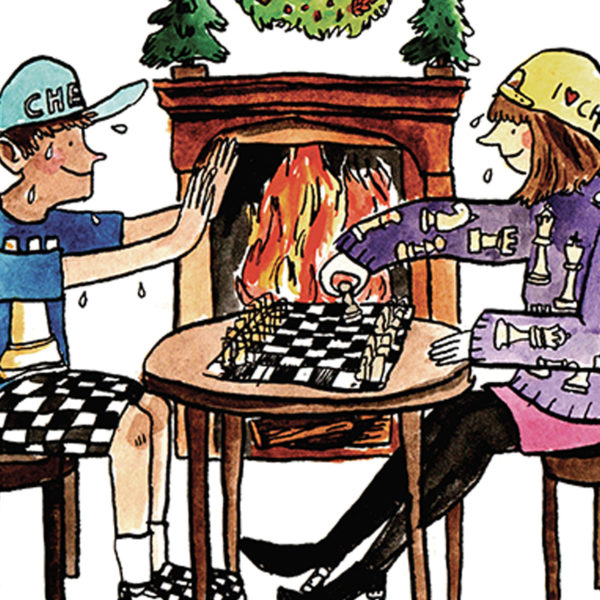 Two people are playing chess in front of an open roaring fire place. They are both wearing chess themed outfits.