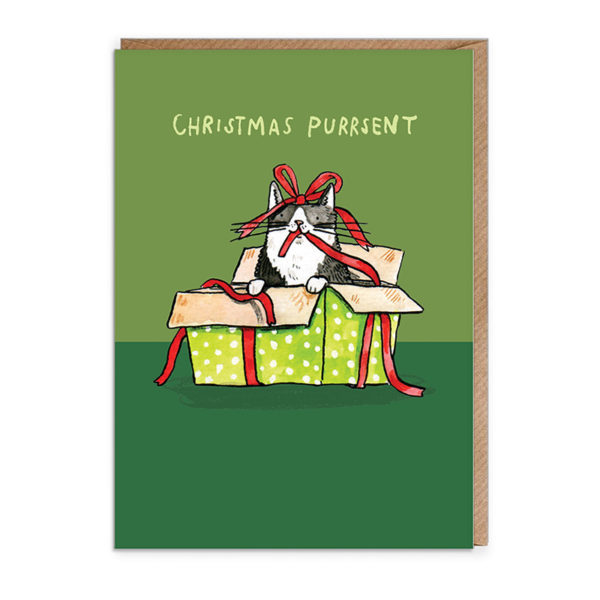 Top half of card is light green, bottom is dark green. A black and white cat is in a green spotty present and is playing with a red ribbon. Text: Christmas Purrsent.