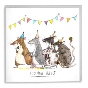 A card with a grey envelope tucked inside. Bunting hands at the top, four rats of brown, grey, black and white, are all dancing and wearing party hats. Text below reads 'Conga Rats'.
