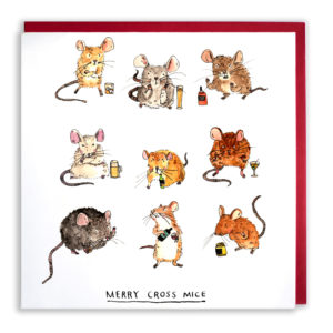 Nine little mice all looking very grumpy and each nursing an alcoholic beverage. Text: 'Merry Cross Mice'.
